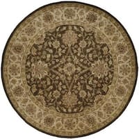 Empire Brown and Ivory Handtufted Wool Area Rug (6' Round)