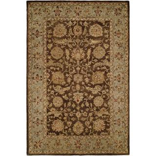 Empire Brown and Light Blue Handtufted Wool Area Rug (8' x 10')