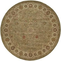 Empire Green and Ivory Wool Hand-tufted Round Area Rug (8'x8') - 8' Round