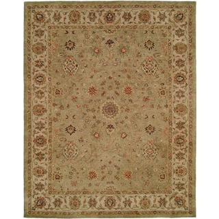 Empire Green and Ivory Wool Hand-tufted Area Rug (3'6x5'6)