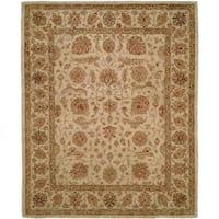 Empire Traditional Ivory and Brown Wool Hand-tufted Area Rug (9'x12')