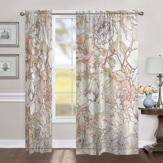Laural Home Blushing Florals 84 Inch Sheer Curtain Panel
