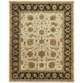 """Empire Ivory and Black Wool Hand-tufted Area Rug (3'6x5'6) - 3'6"""" x 5'6"""""""