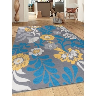 Modern Large Flowers Non-Slip Gray Area Rug (5' X 7') - 5' x 7'