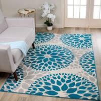 Modern Floral Design Blue 9' X 12' Area Rug - 9' x 12'