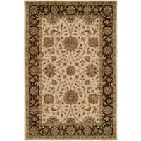 Empire Ivory/Brown Wool Hand-tufted Area Rug (5' x 8') - 5' x 8'