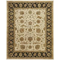 Empire Ivory/Black Hand Tufted Wool Area Rug (9'6 x 13'6)