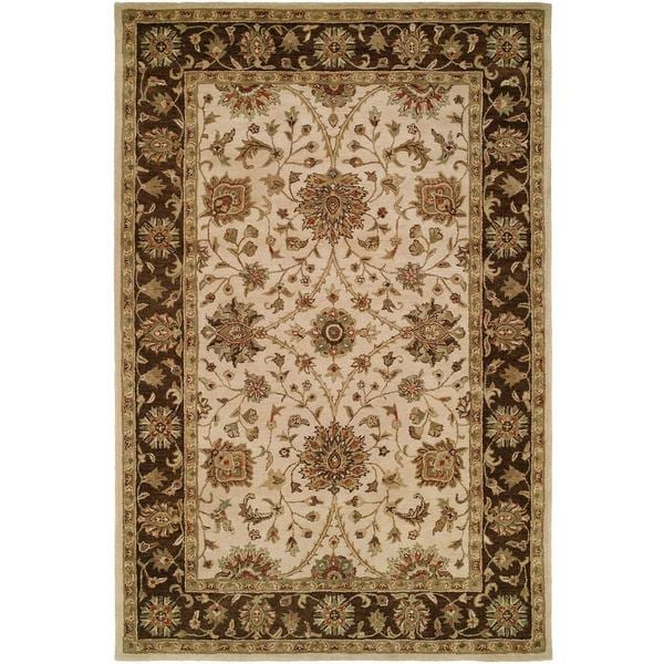 Empire Ivory and Brown Wool Hand-tufted Area Rug (2'x3') - 2' x 3'