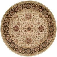 Empire Ivory and Brown Wool Hand-tufted Area Rug (6' Round)