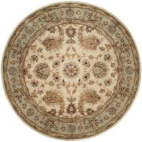 Empire Ivory and Light Blue Hand-tufted Wool Area Rug (6' Round)