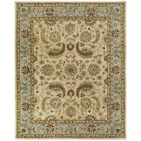 Empire Ivory and Light Blue Wool Hand-tufted Runner Rug - 2'6 x 10'