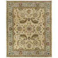 """Empire Ivory and Light Blue Wool Hand-tufted Area Rug (3'6x5'6) - 3'6"""" x 5'6"""""""