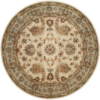 Empire Ivory/Light Blue Wool Hand-tufted Area Rug (8' Round)