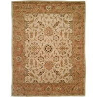 Empire Ivory/Peach Wool Hand-tufted Area Rug (9' x 12') - 9' x 12'