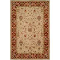 Empire Ivory/Rust Wool Hand-tufted Area Rug (6' x 9') - 6' x 9'