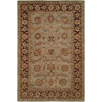 Empire Light Blue and Brown Hand-tufted Area Rug (2'x3') - 2' X 3'