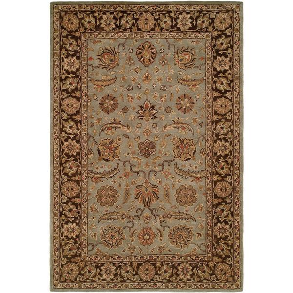 Empire Light Blue/ Brown Wool Hand-tufted Area Rug - 2'6 x 10'