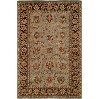 Empire Light Blue/ Brown Wool Hand-tufted Area Rug (2'6x10')