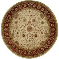 Empire Ivory/Rust Wool Hand-tufted Area Rug (8' x 8')