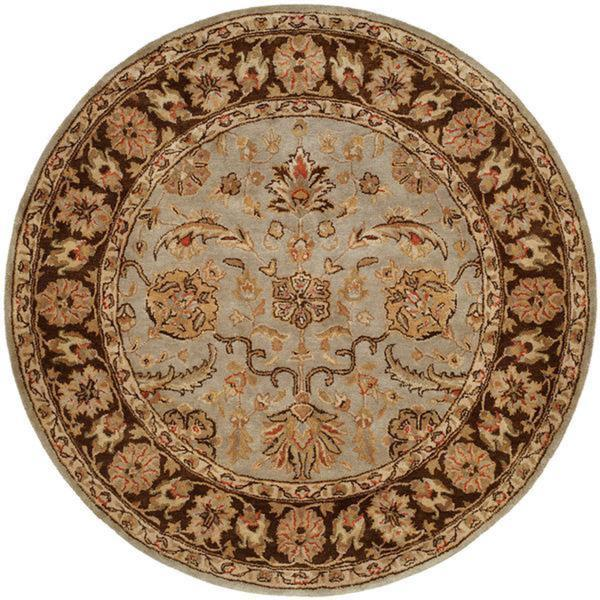 Empire Light Blue and Brown Hand-tufted Area Rug (6' Round)