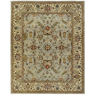 Empire Light Blue and Gold Wool Hand-tufted Area Rug (2'x3') - 2' x 3'