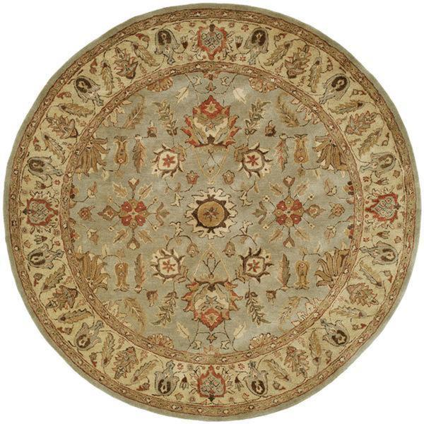 Empire Light Blue/Gold Wool Hand-tufted Area Rug (8' Round) - 8' Round