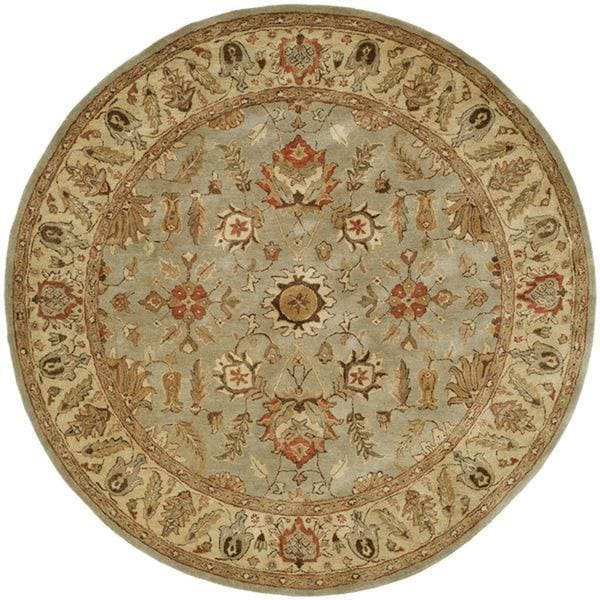 Empire Light Blue/Gold Wool Hand-tufted Area Rug (8' Round)