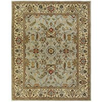 Empire Light Blue/ Gold Wool Hand-tufted Area Rug (9' x 12') - 9' x 12'