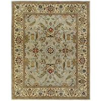 Empire Light Blue/Gold Wool Hand-tufted Area Rug (5' x 8')