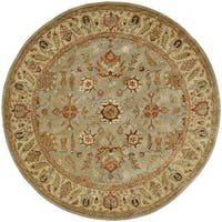 Empire Light Blue/ Gold Wool Hand-tufted Area Rug (6' Round)