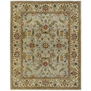 Empire Traditional Light Blue/Gold Wool Hand-tufted Area Rug (8' x 10')