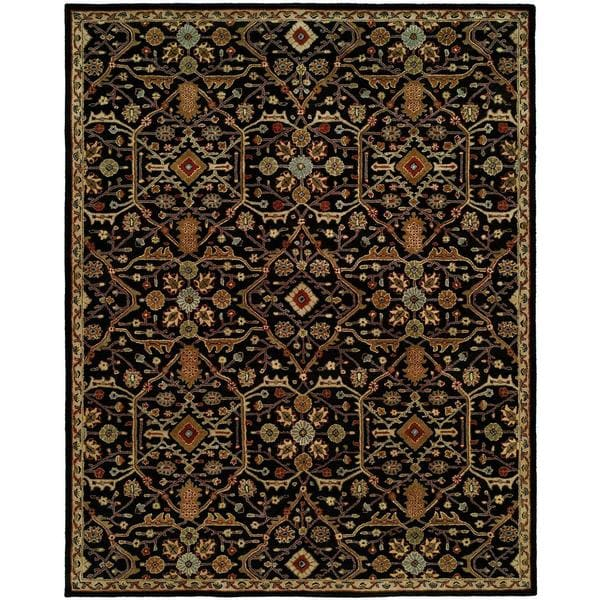 Empire Onyx Black Wool Hand-tufted Area Rug (8' x 10') - 8' x 10'