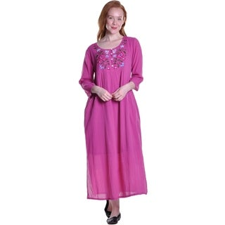 La Cera Women's Embroideres Yoke Dress