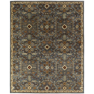 Empire Slate Blue Wool Hand-tufted Area Rug (6' x 6')