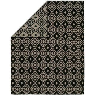 Endura Black and Lilac Wool Handmade Reversible Area Rug - 5' x 8'