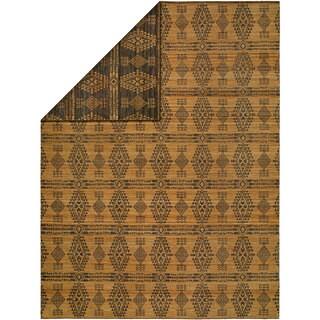 Endura Butterscotch/Charcoal Wool Handmade Reversible Area Rug - 8' x 10'