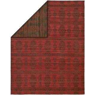 Endura Charcoal/Red Wool Handmade Reversible Area Rug (9' x 12') - 9' x 12'