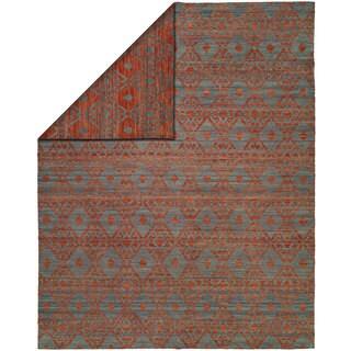 Endura Crimson/Blue Wool Handmade Reversible Area Rug - 4' x 6'