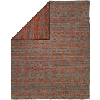 Endura Crimson/Blue Wool Handmade Reversible Area Rug (9' x 12') - 9' x 12'
