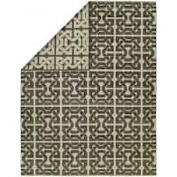 Endura Ivory/Black Wool Handmade Reversible Geometric Area Rug - 2' x 3'