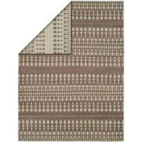 Endura Ivory/Lilac Wool Handmade Reversible Area Rug - 5' x 8'