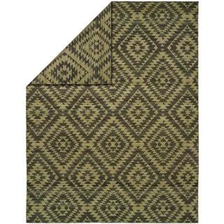 Endura Khaki Wool Handmade Reversible Area Rug (2' x 3')
