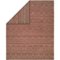 Endura Rose/Light Blue Wool Handmade Reversible Area Rug (8' x 10')