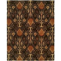 Heirloom Contemporary Brown Wool Ikat Hand-tufted Area Rug (9'6 x 13'6)