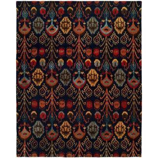 Heirloom Navy Wool Hand-tufted Ikat Area Rug (2'6 x 10')
