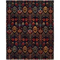 """Heirloom Navy Wool Hand-tufted Ikat Area Rug (2'6 x 10') - 2'6"""" x 10'"""