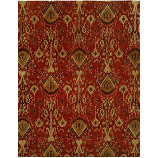 Heirloom Contemporary Red Wool Hand-tufted Ikat Area Rug (2'6 x 10')