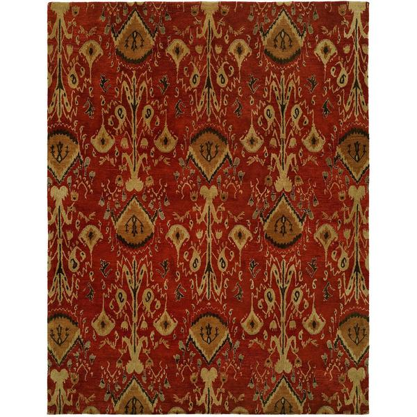 Heirloom Red Wool Hand-tufted Area Rug (6' x 9') - 6' x 9'