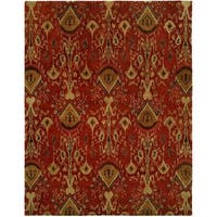 Heirloom Red/Gold Wool Hand-tufted Ikat Area Rug (5' x 8')