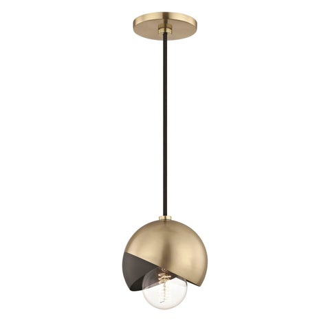 Mitzi by Hudson Valley Emma 1-light Aged Brass Pendant with Black Accents